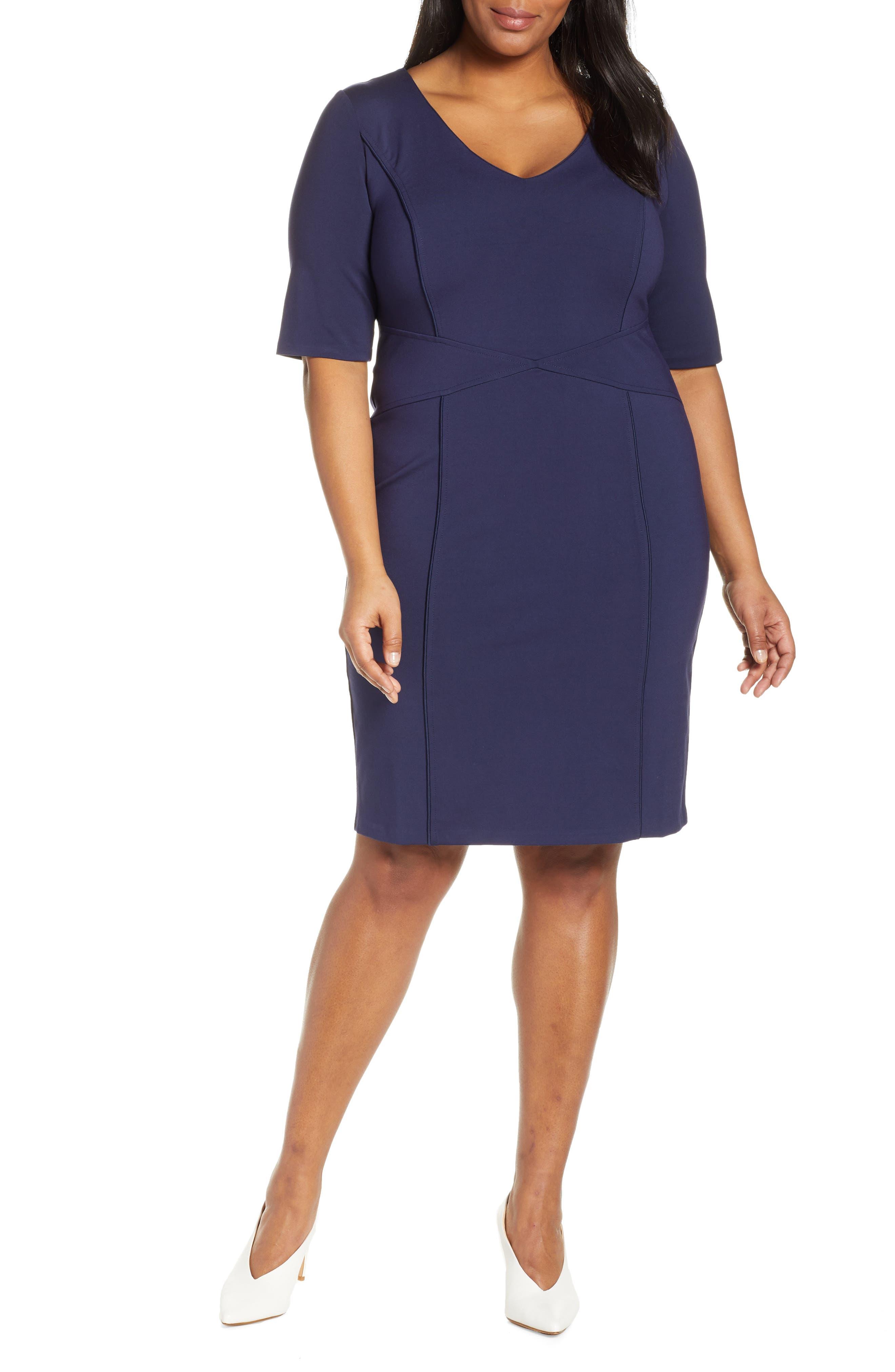 Plus Size Eloquii 9-To-5 Stretch Sheath Dress, Blue