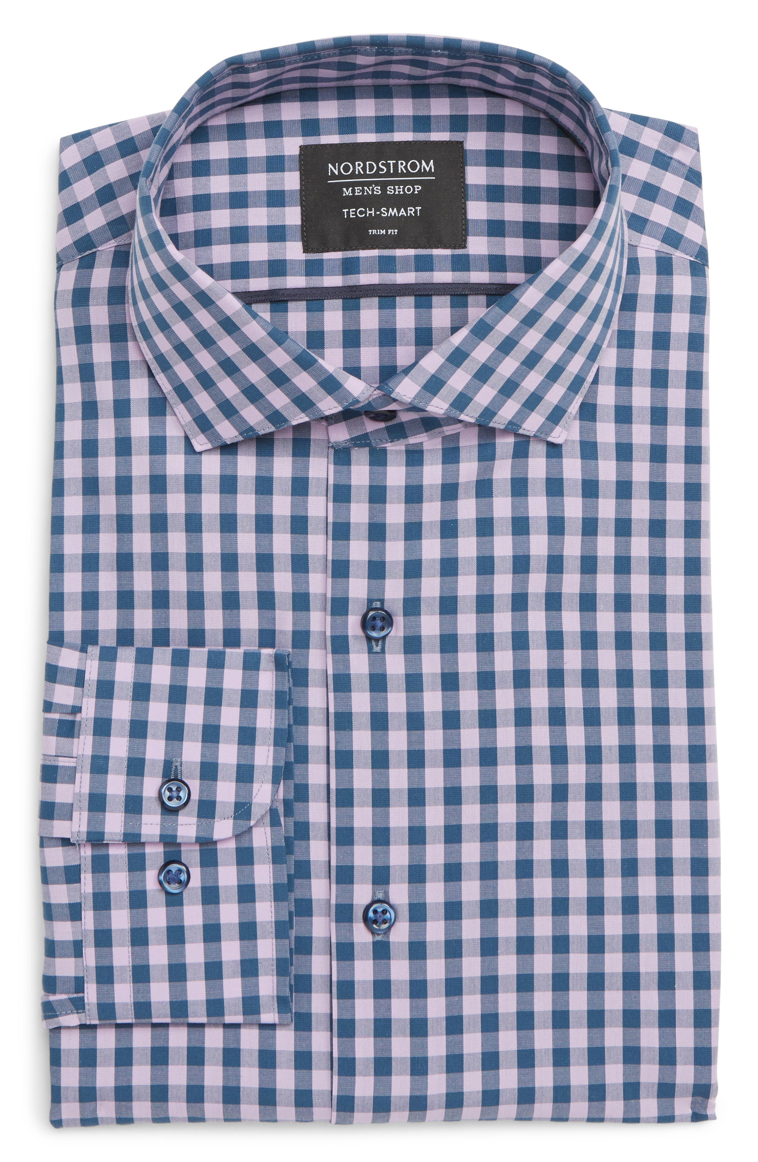 ,                             Tech-Smart Trim Fit Stretch Check Dress Shirt,                             Alternate thumbnail 43, color,                             510