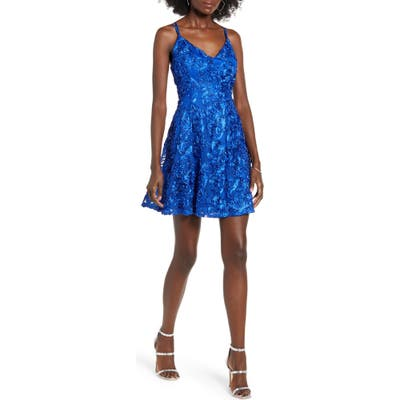 Love, Nickie Lew Strappy Soutache Lace Skater Dress, Blue