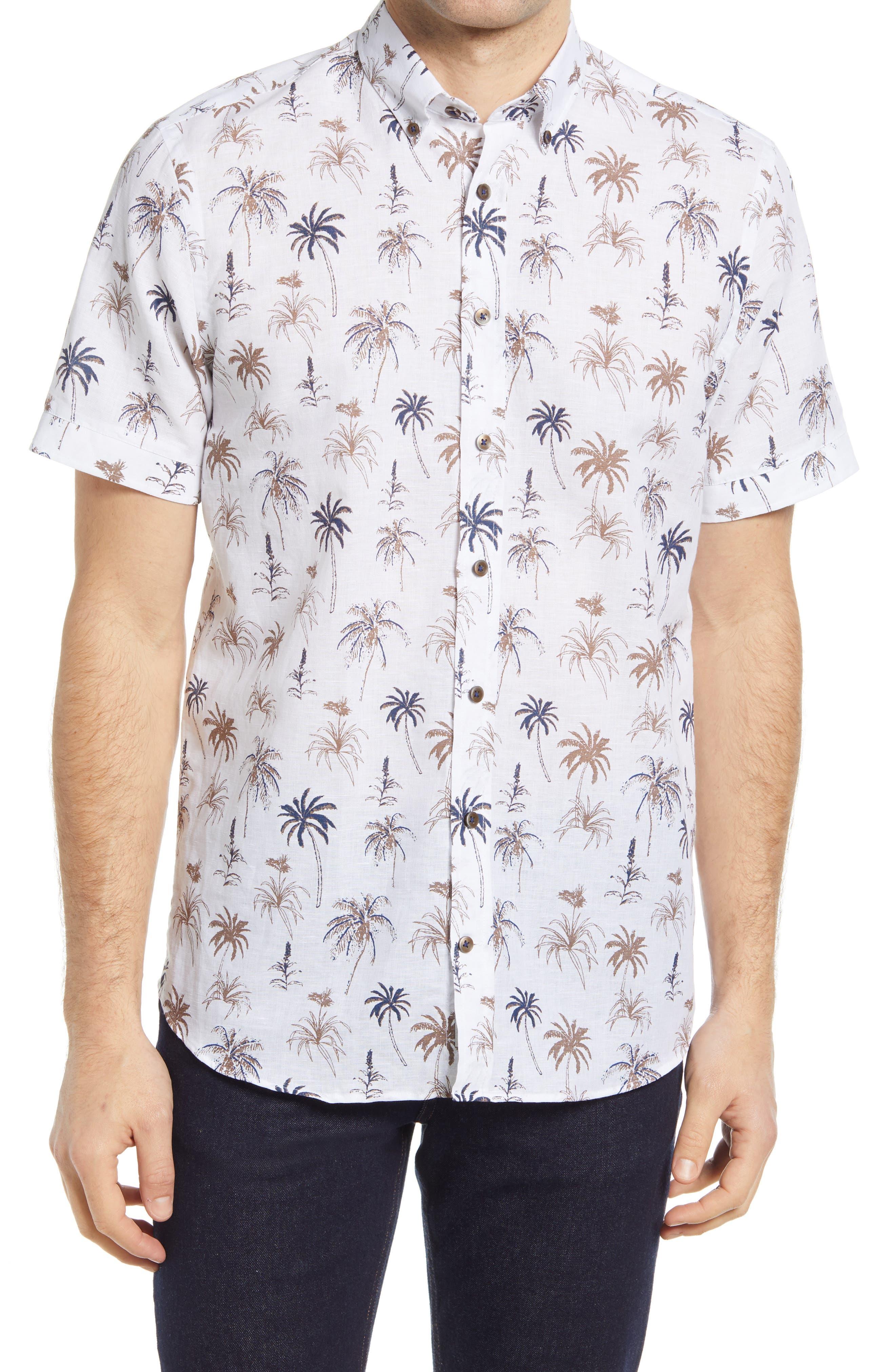 Palm Tree Short Sleeve Button-Down Shirt