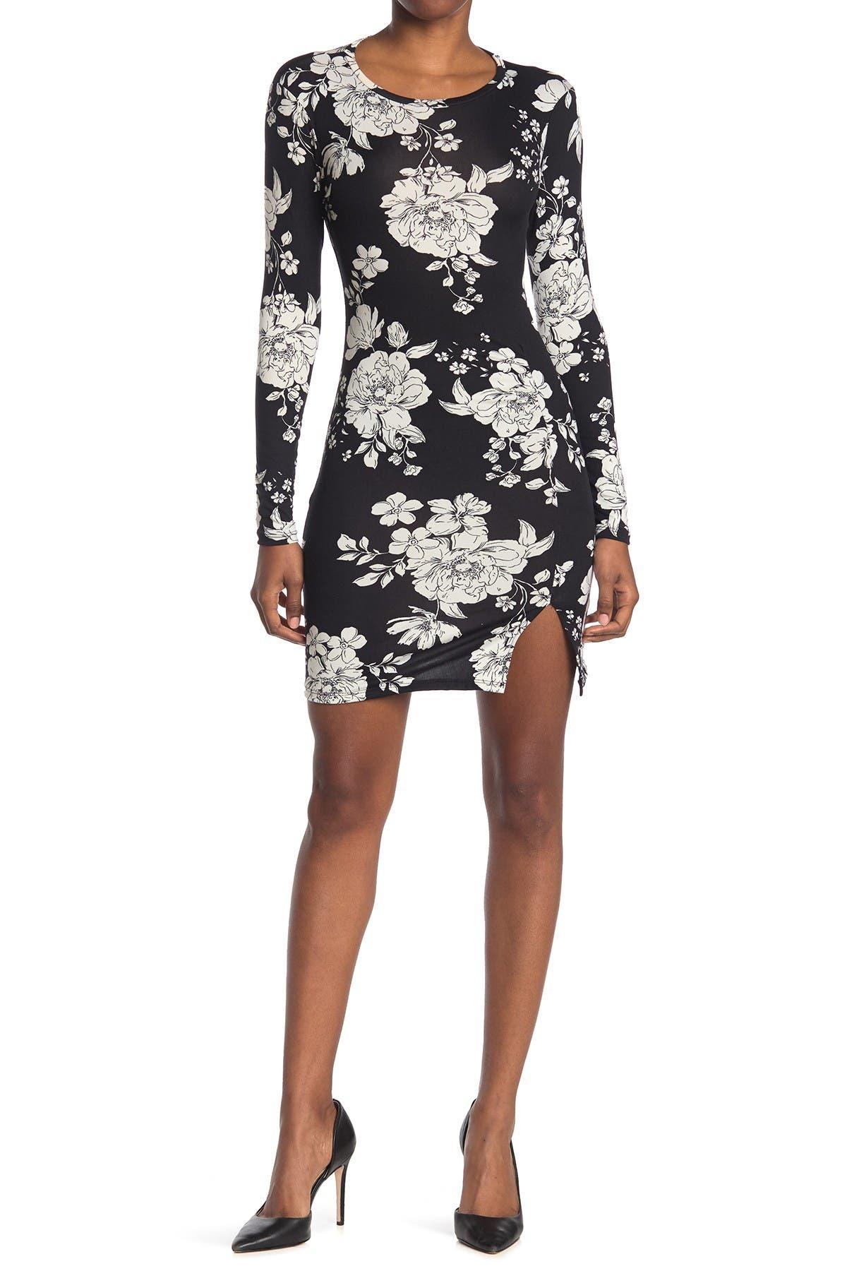 Image of Velvet Torch Ruche Print Vent Mini Dress