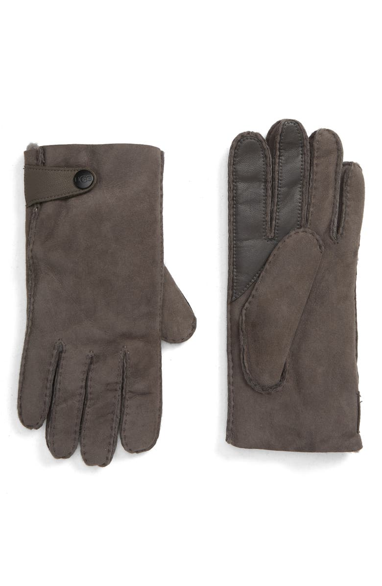 UGG<SUP>®</SUP> Genuine Shearling Lined Leather Tech Gloves, Main, color, CHARCOAL