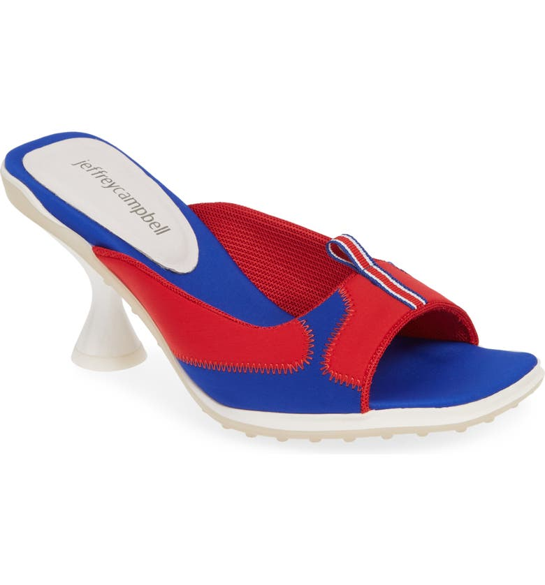 JEFFREY CAMPBELL Qtrback Slide Sandal, Main, color, RED WHITE BLUE NEOPRENE COMBO