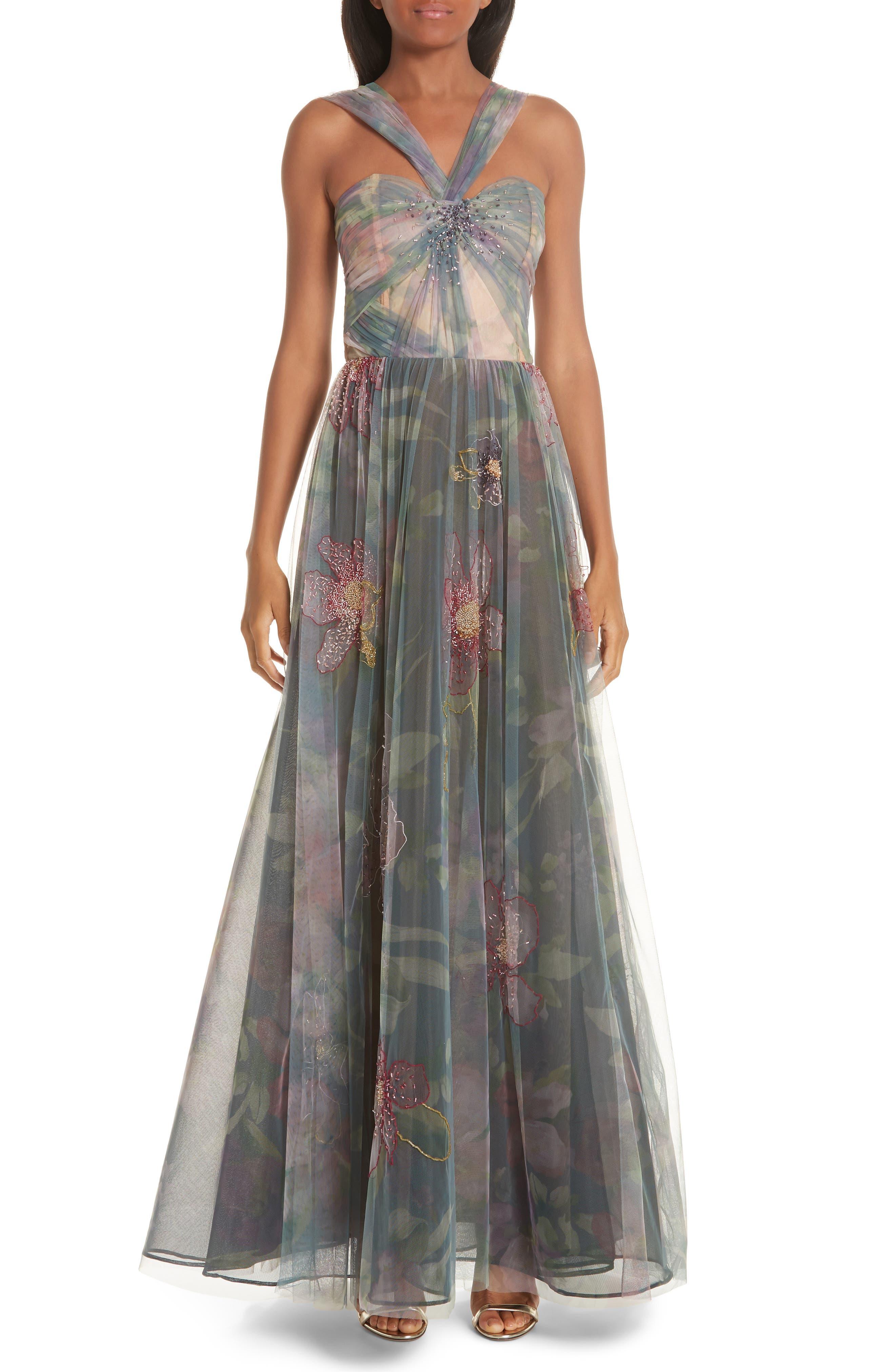 Patbo Beaded Floral Evening Dress, US / 44 BR - Blue