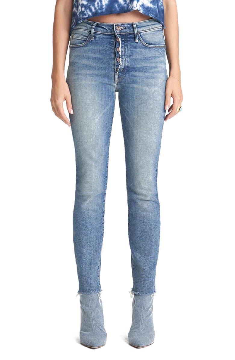 MOTHER The Fly Cut Stunner Fray Hem Ankle Jeans, Main, color, NIGHT ON A SHINY WHITE VESPA