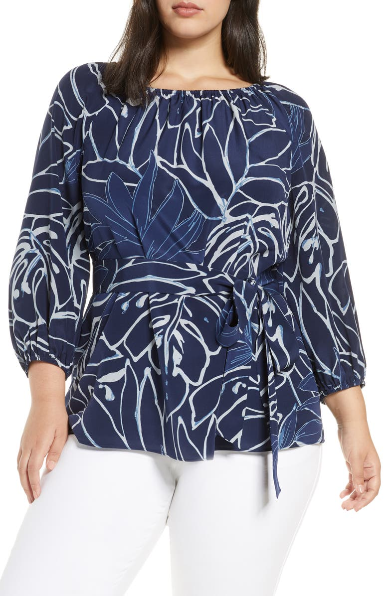 LAFAYETTE 148 NEW YORK Carson Belted Silk Blouse, Main, color, 465