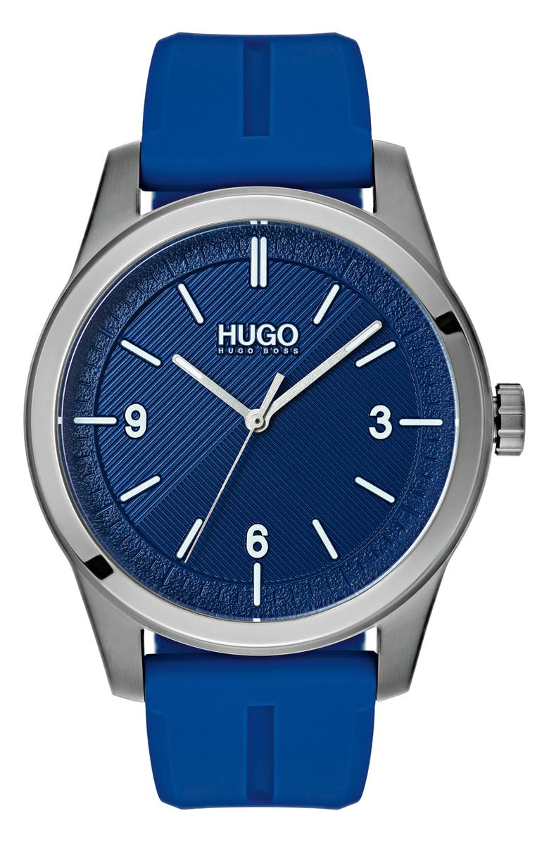 HUGO Automatic Silicone Strap Watch 40mm