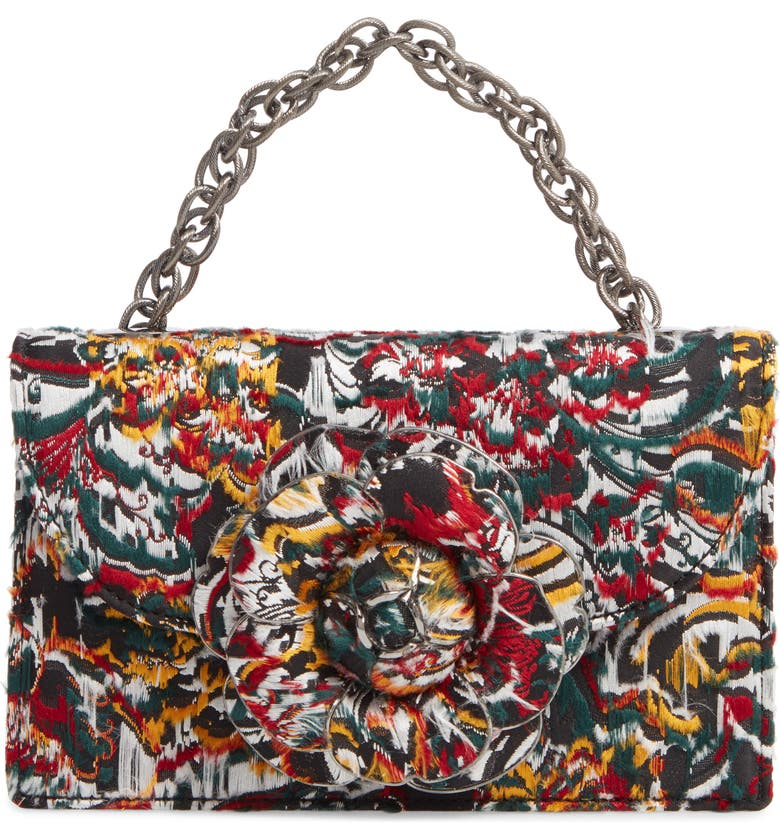 OSCAR DE LA RENTA Tro Floral Fil Coupé Bag, Main, color, JUNIPER MULTI