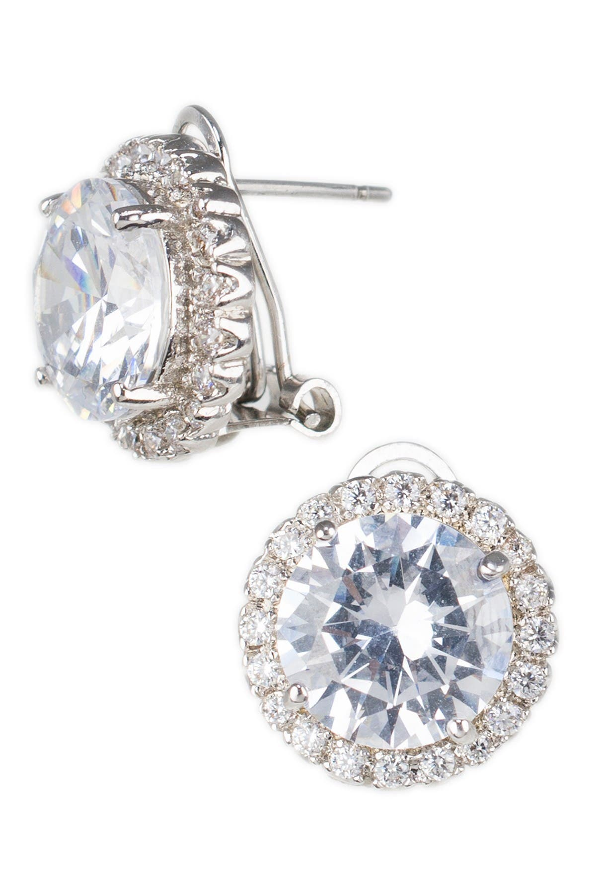 Image of CZ By Kenneth Jay Lane 15mm Halo CZ Stud Earrings