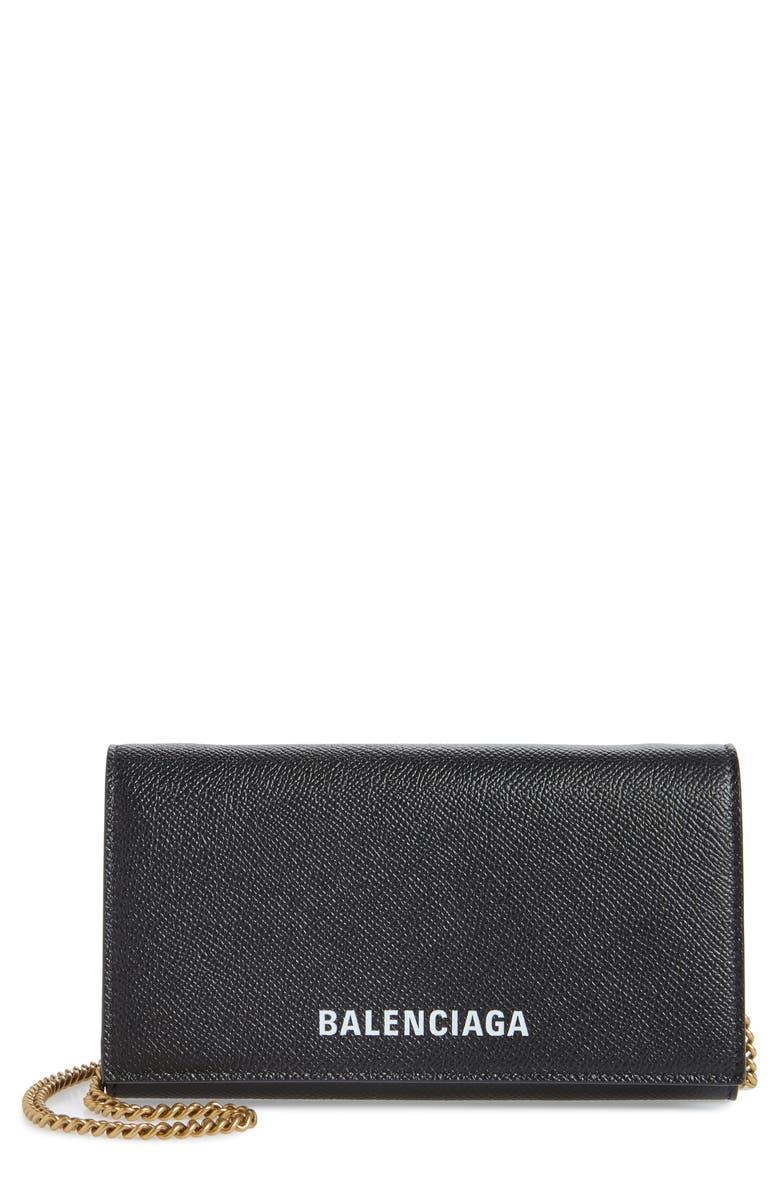 BALENCIAGA Ville Calfskin Wallet on a Chain, Main, color, BLACK/ WHITE