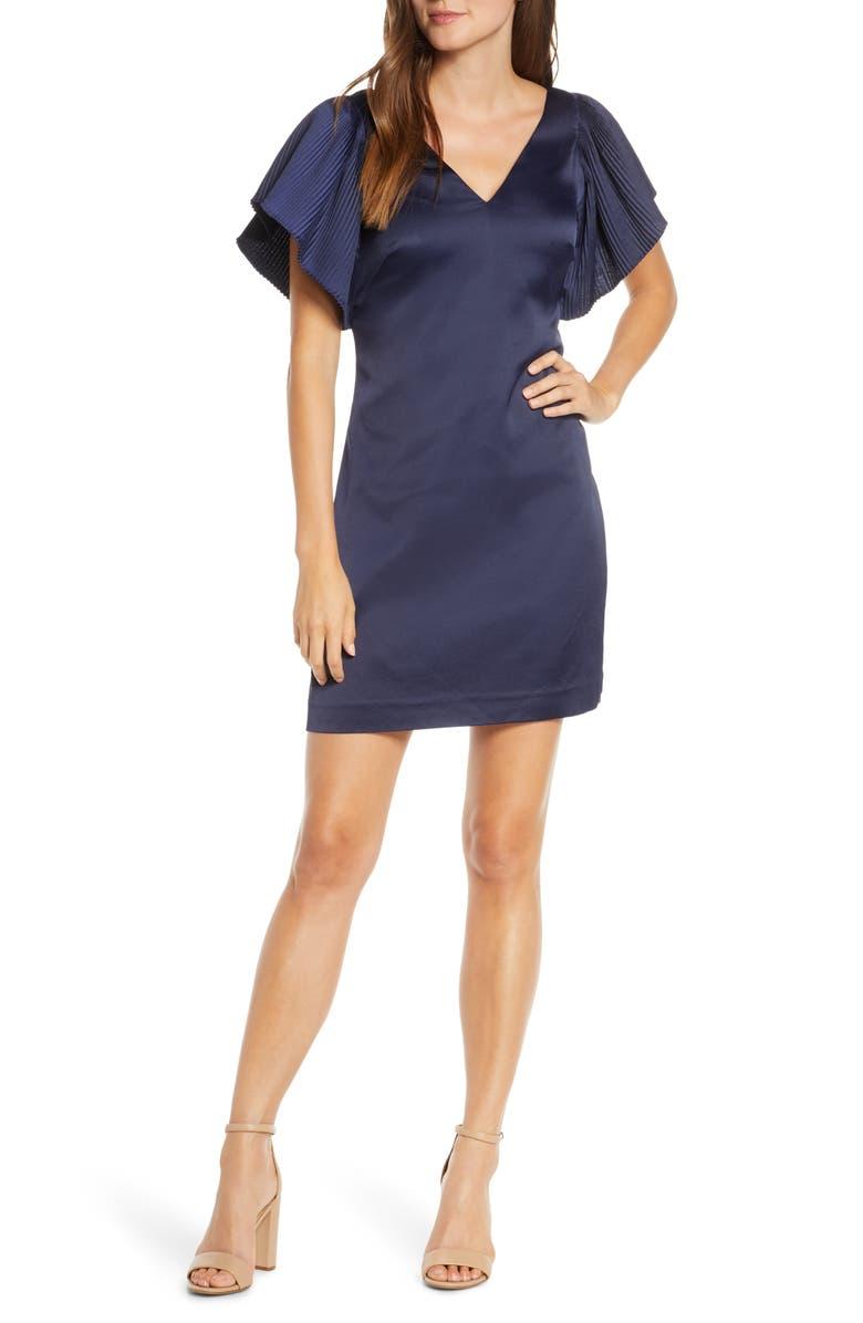 ELIZA J Pleated Sleeve Shift Dress, Main, color, 410