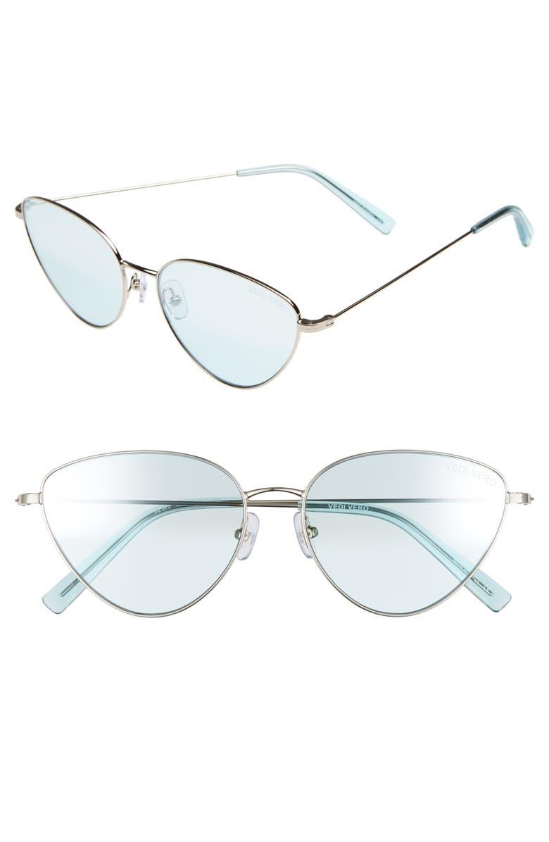 VEDI VERO 58mm Cat Eye Sunglasses, Main, color, SHINY SILVER