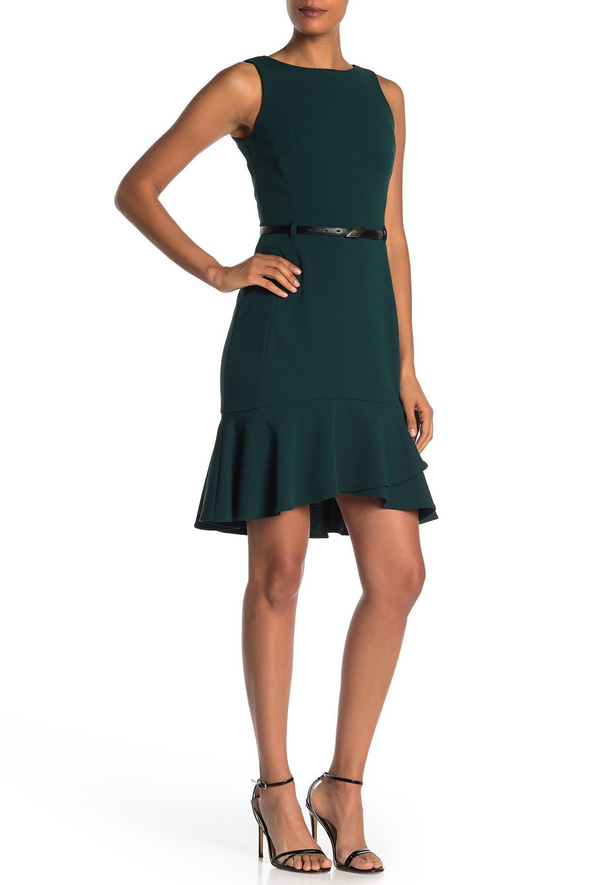 Image of Calvin Klein Belted Flutter Hem Sleeveless Dress