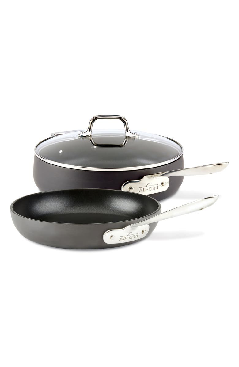ALL-CLAD HA1 Hard Anodized 3-Piece Sauté Pan Set, Main, color, BLACK