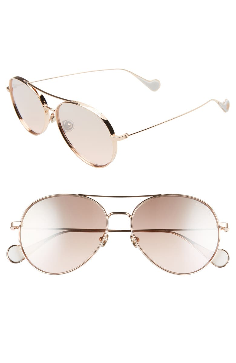 MONCLER 57mm Mirrored Aviator Sunglasses, Main, color, GOLD/ PEACH GRADIENT