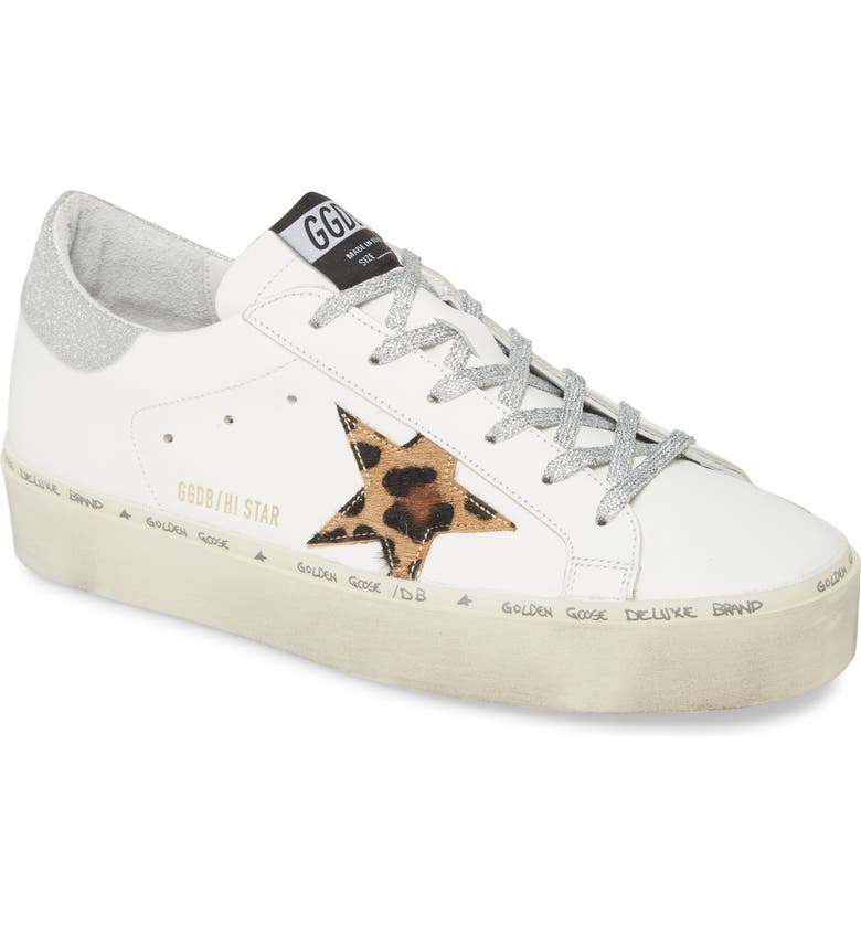 GOLDEN GOOSE Hi Star Platform Sneaker, Main, color, WHITE LEATHER/ LEOPARD SOLE
