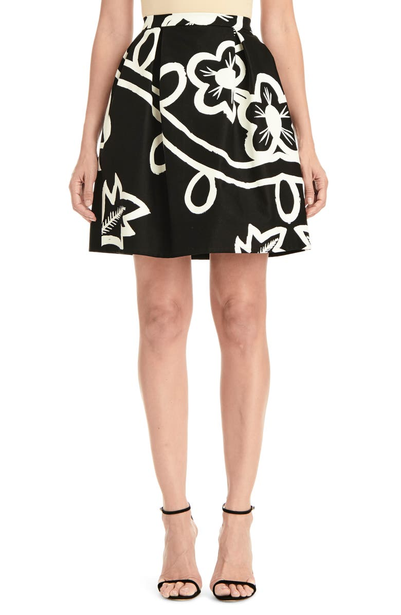 CAROLINA HERRERA Graphic Floral Pleated Skirt, Main, color, BLACK/ WHITE