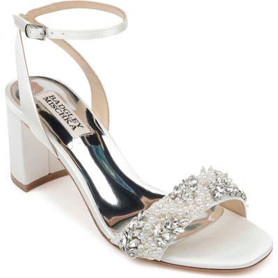 Badgley Mischka Clara Embellished Sandal, White