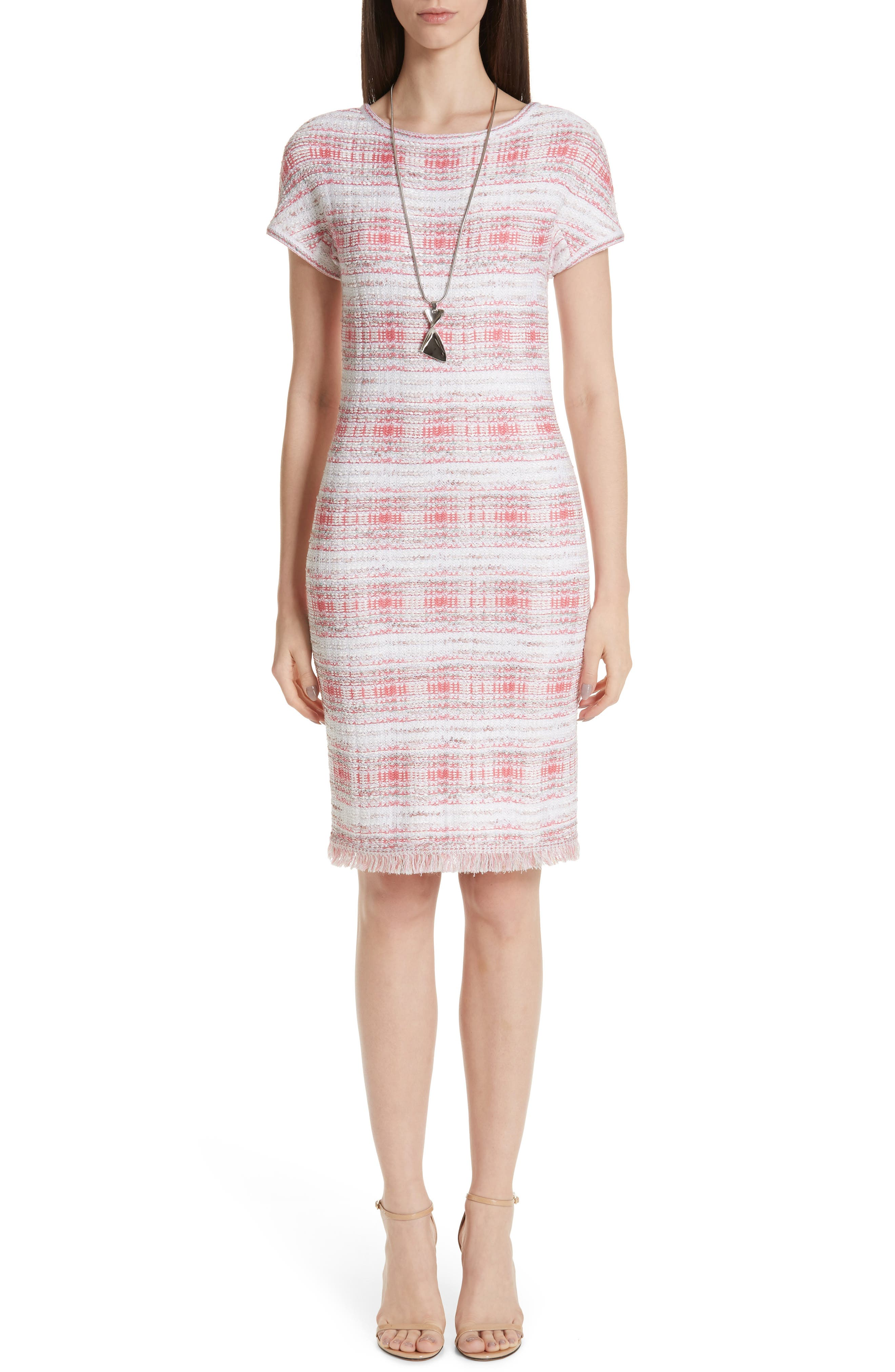 St. John Collection Becca Knit Short Sleeve Dress, Coral