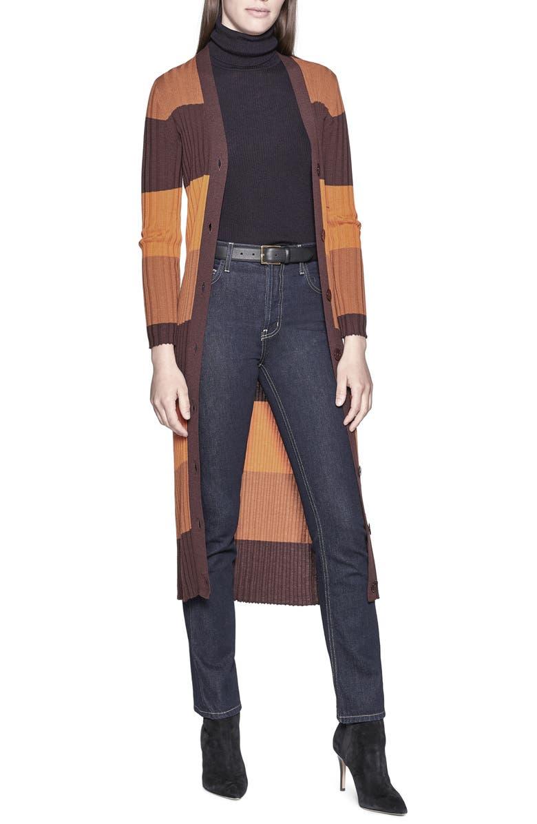 EQUIPMENT Verelle Stripe Ribbed Long Wool Cardigan, Main, color, AUBERGINE BIS MULTI