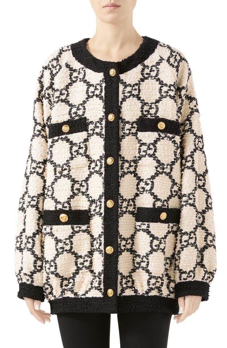 GUCCI GG Tweed Drape Back Jacket, Main, color, WHITE/ BLACK
