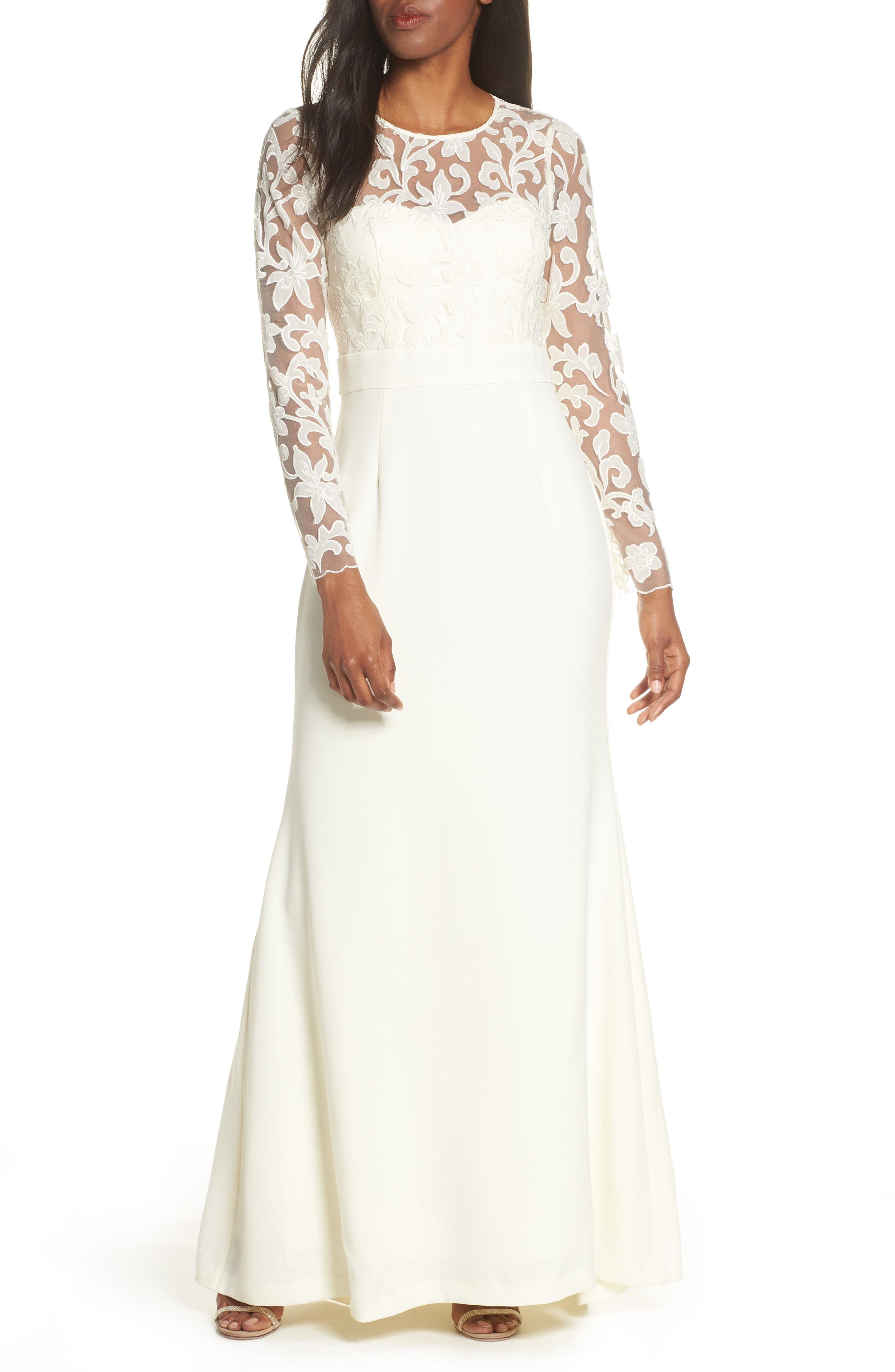Eliza J Long Sleeve Embroidered Mesh Bodice Trumpet Gown, Ivory