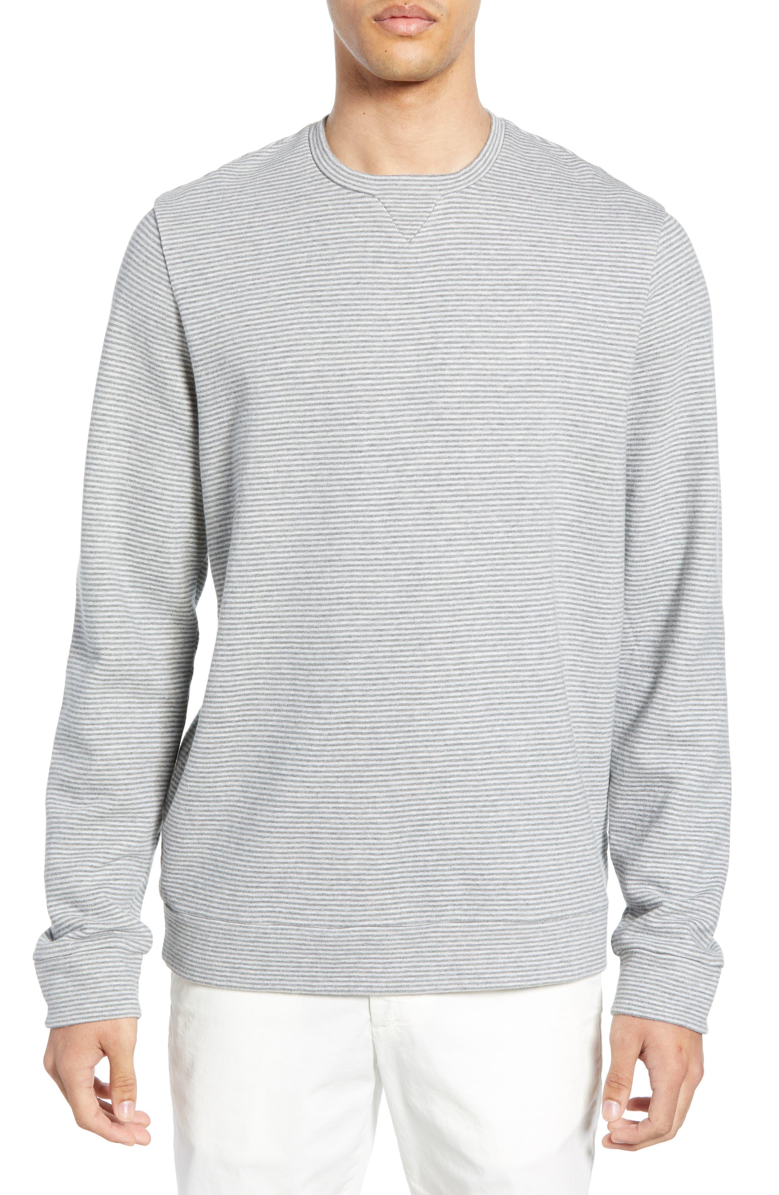 Stripe Fleece Pullover, Main, color, CREAM GREY STRIPE