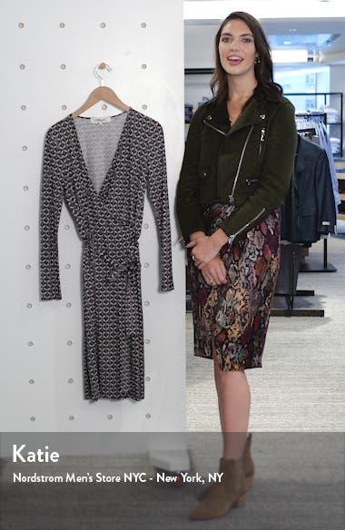 Karis Geo Print Long Sleeve Faux Wrap Silk Dress, sales video thumbnail