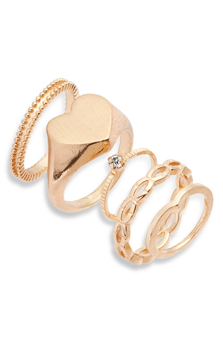 BP. x Claudia Sulewski Set of 5 Stacking Rings, Main, color, GOLD