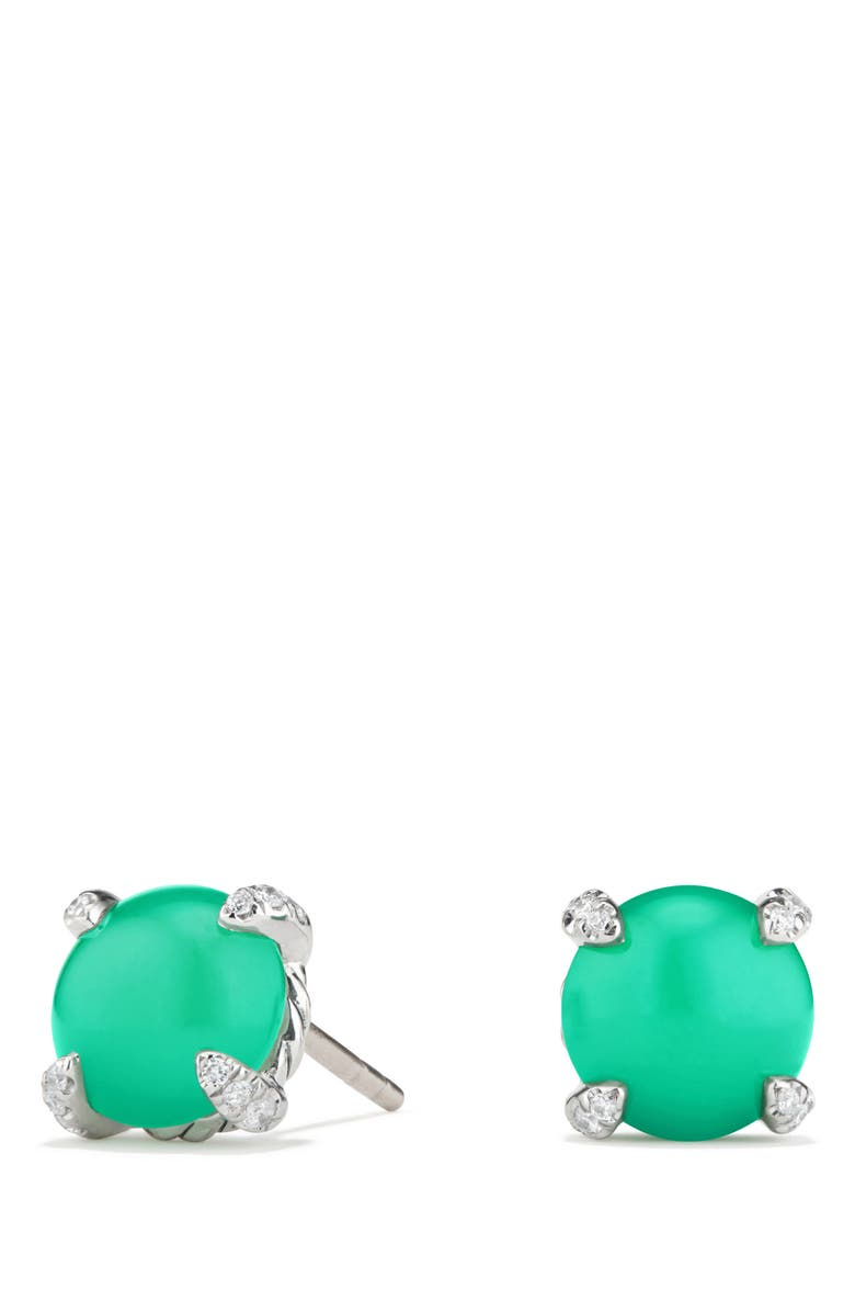DAVID YURMAN Chatelaine<sup>®</sup> Stud Earrings with Gemstone & Diamond, Main, color, SILVER/ DIAMOND/ CHRYSOPRASE
