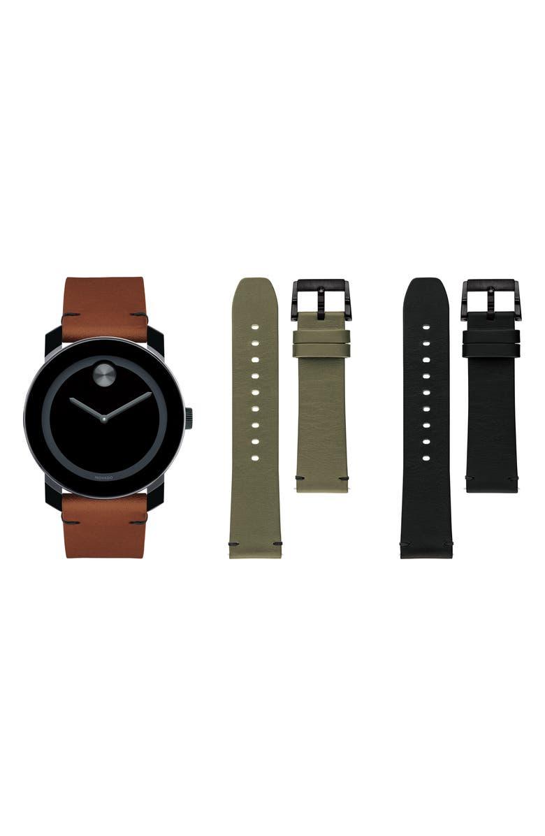 MOVADO Bold Leather Strap Watch Set, 42mm, Main, color, COGNAC/ GREEN/ BLACK