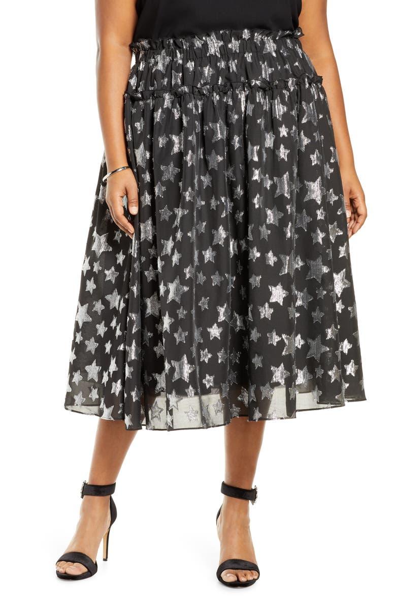 HALOGEN<SUP>®</SUP> x Atlantic-Pacific Star Chiffon Midi Skirt, Main, color, 001