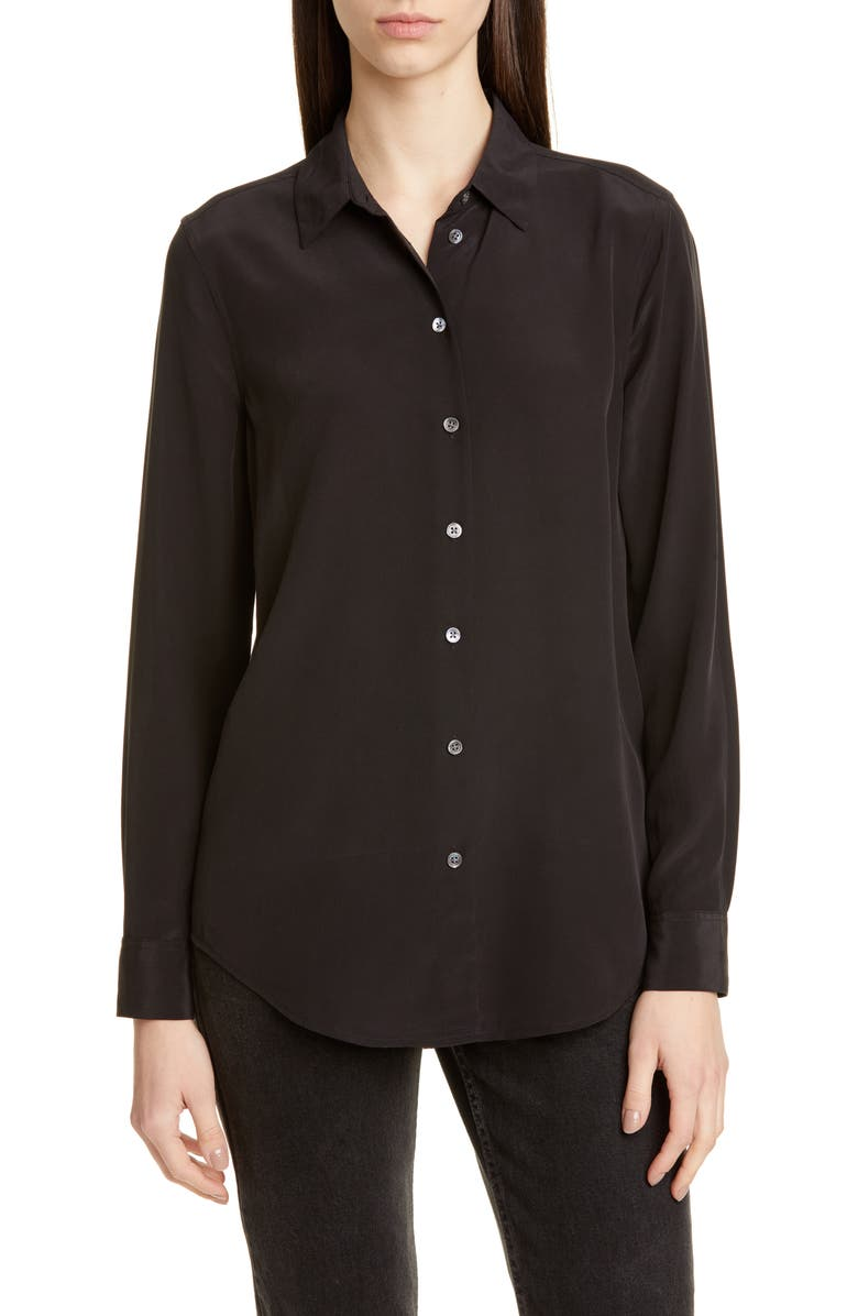 EQUIPMENT Essential Silk Blouse, Main, color, TRUE BLACK