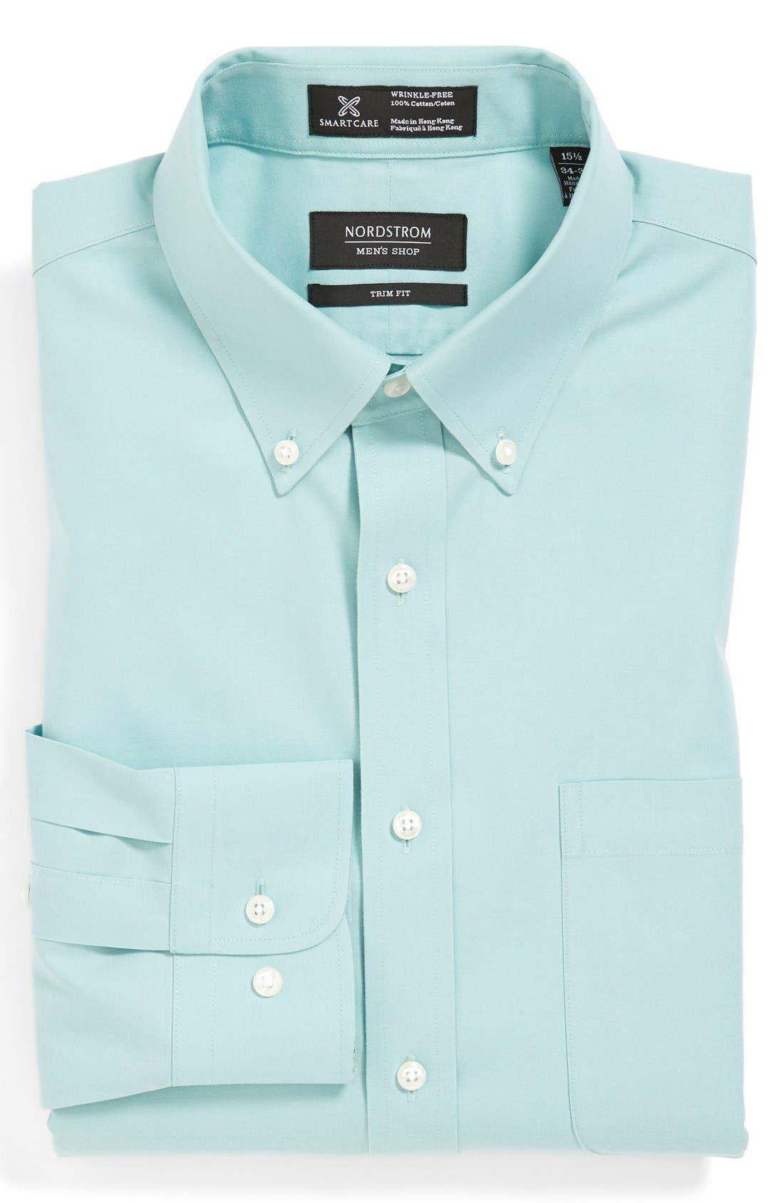 ,                             Smartcare<sup>™</sup> Trim Fit Solid Dress Shirt,                             Main thumbnail 15, color,                             301