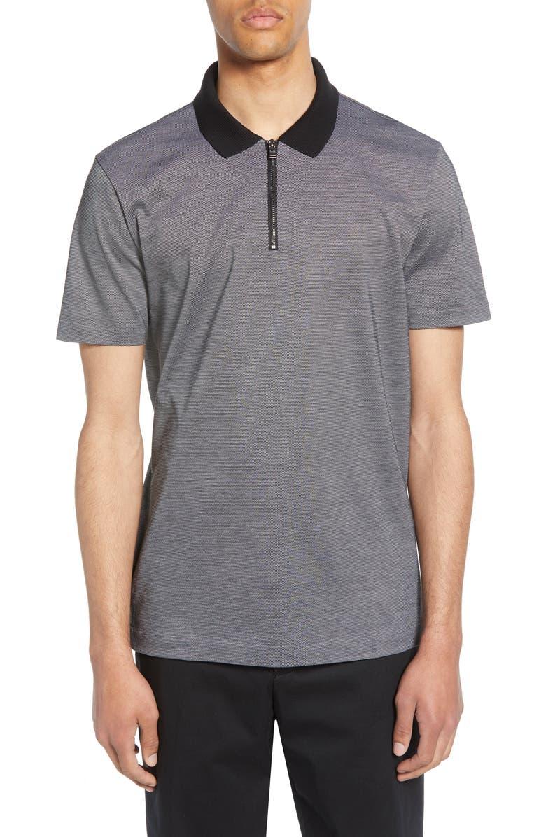 BOSS Paras Regular Fit Zip Piqué Polo, Main, color, BLACK