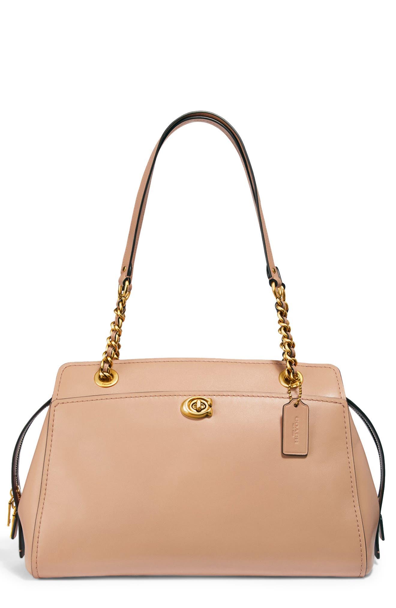 Parker Leather Shoulder Bag, Main, color, BEACHWOOD