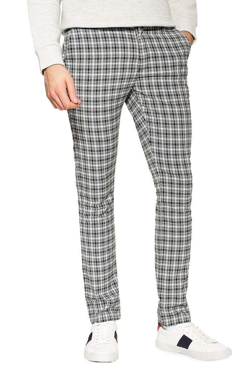 691283a3a4 Check Stretch Skinny Fit Trousers, Main, color, BLACK