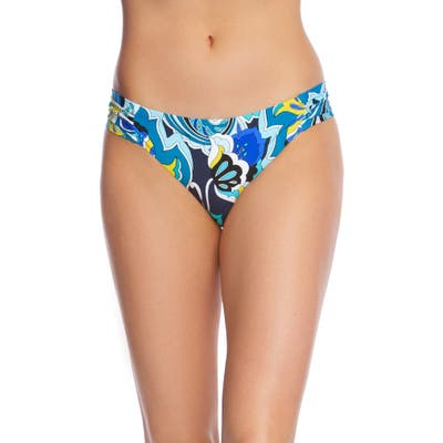 Trina Turk Ipanema Shirred Side Hipster Bikini Bottoms, Blue