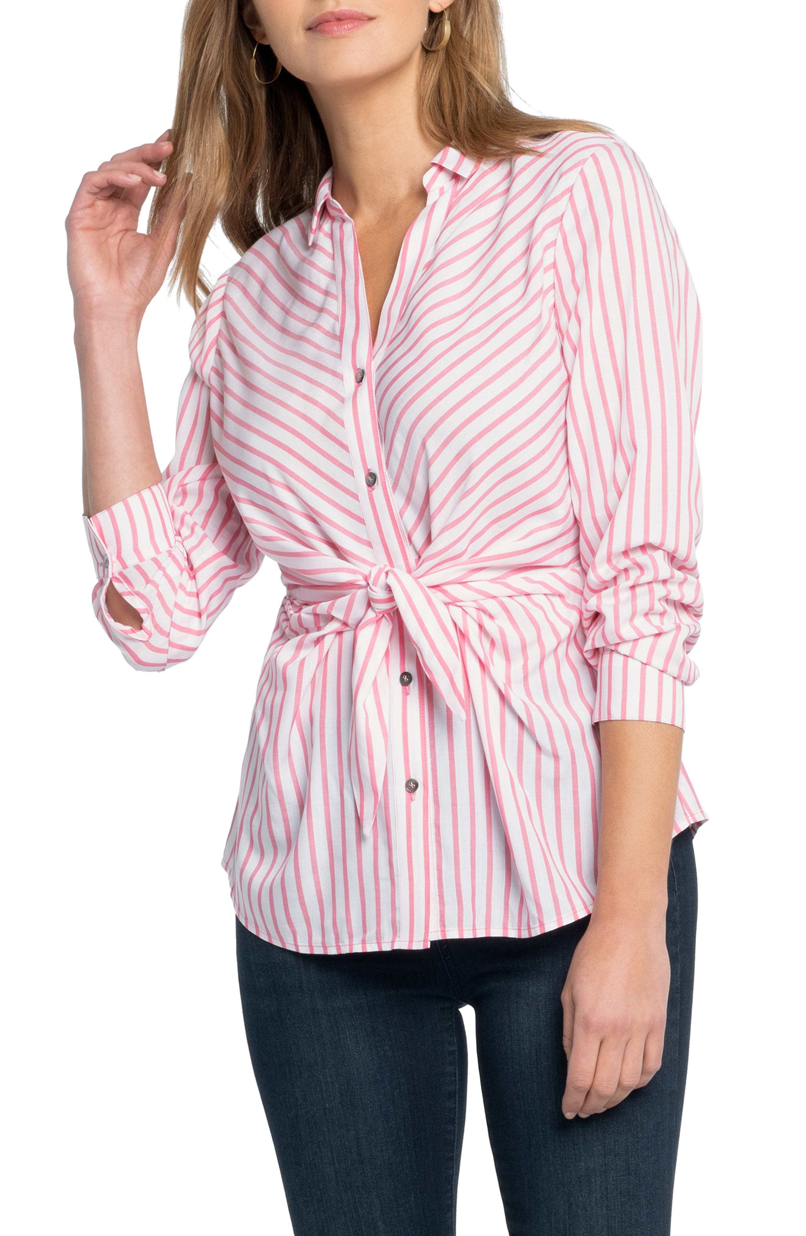 Update your winter-weary wardrobe with the sunny stripes of this soft shirt with front ties creating a casual air while whittling the waist. Style Name: Nic+Zoe Sail Tie Stripe Blouse. Style Number: 5967156. Available in stores.