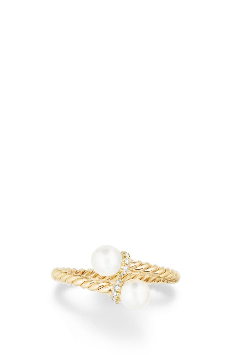 DAVID YURMAN Solari Bypass Ring with Pearls & Diamonds in 18K Gold, Main, color, YELLOW GOLD/ DIAMOND/ PEARL