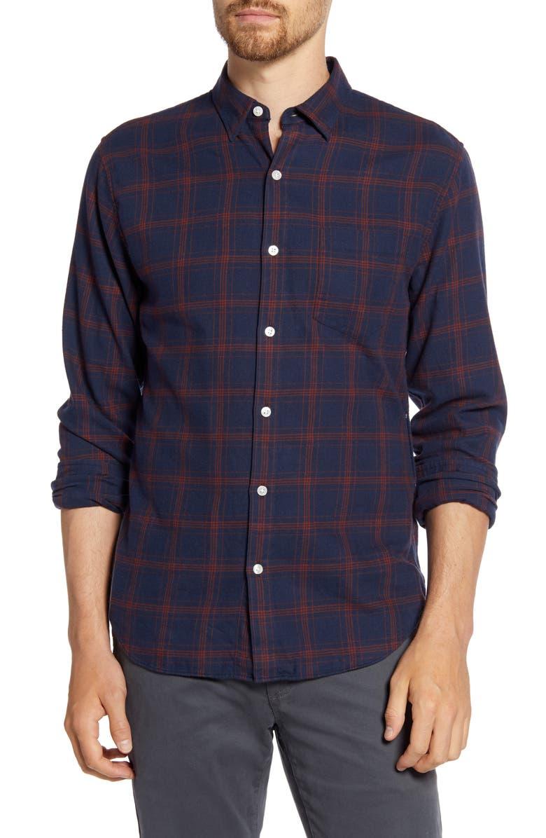 BONOBOS Slim Fit Plaid Flannel Button-Up Shirt, Main, color, PLAID - EXPEDITION NAVY