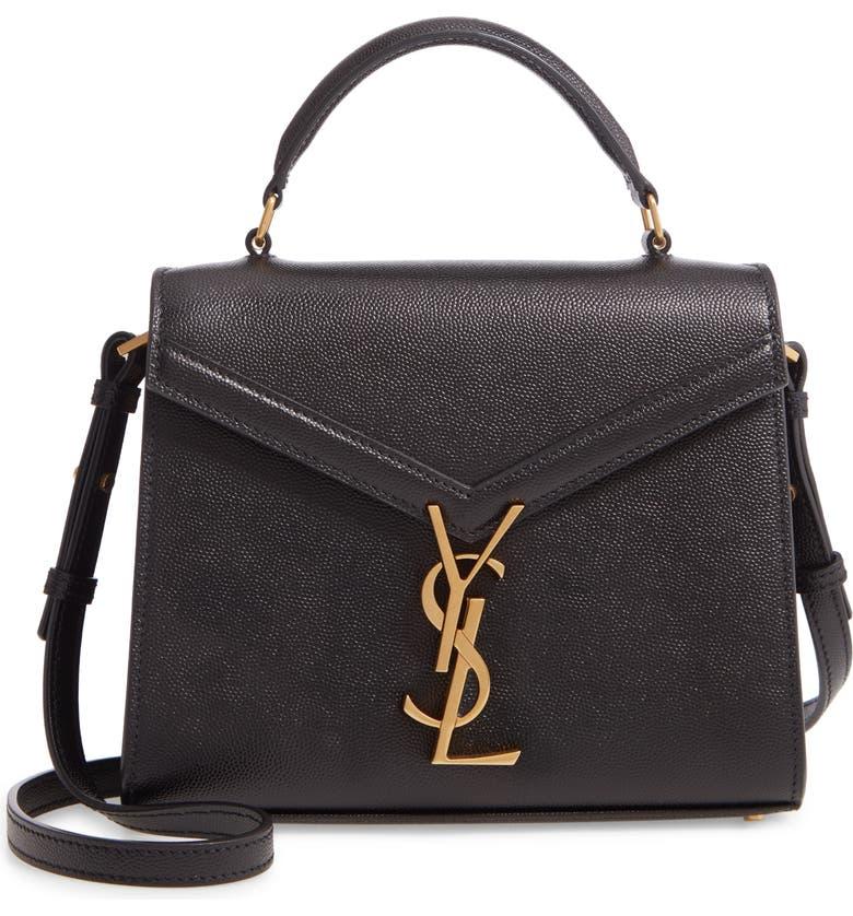 SAINT LAURENT Mini Cassandra Leather Top Handle Bag, Main, color, NOIR