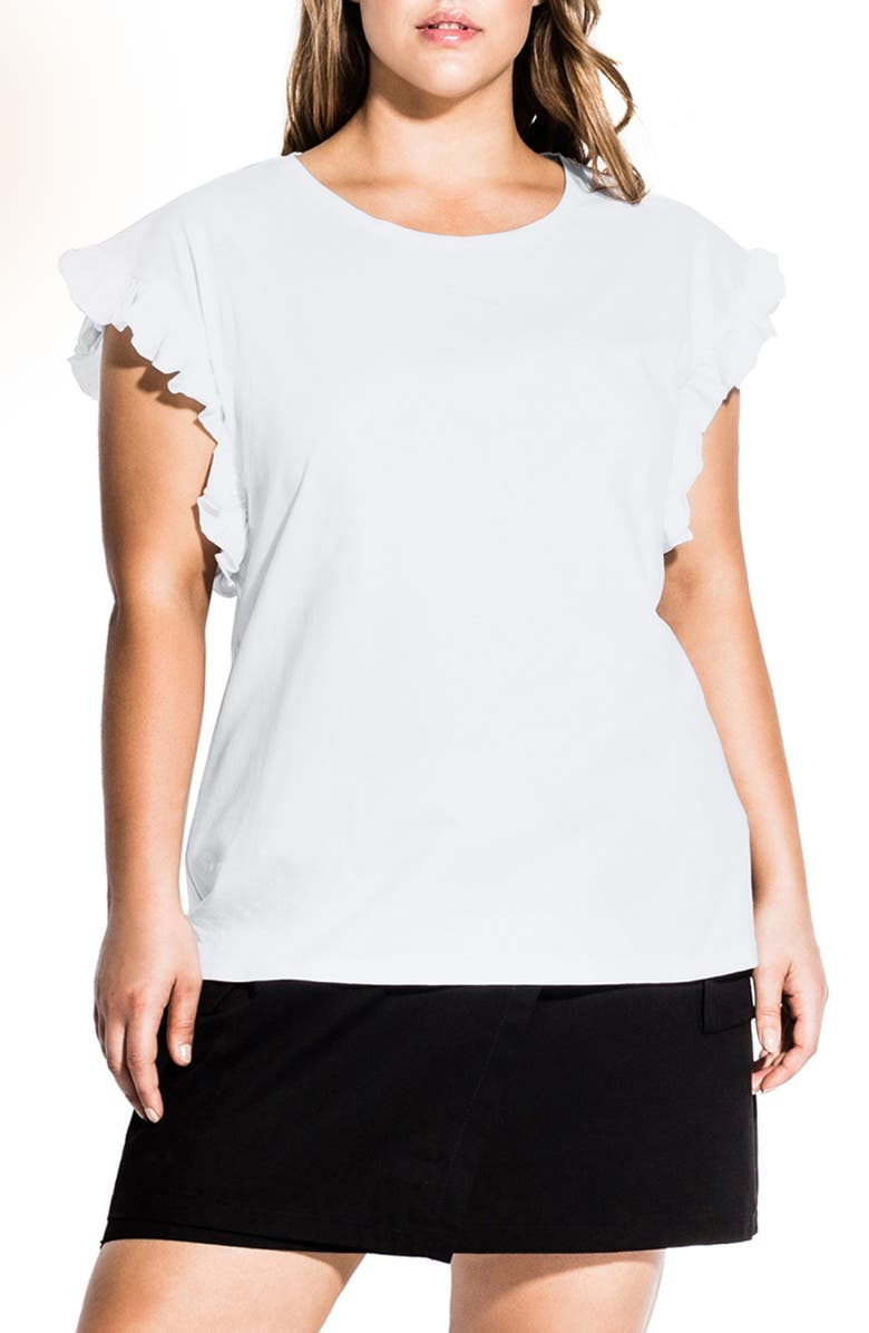 CITY CHIC Ruffle Sleeve Cotton Top, Main, color, IVORY