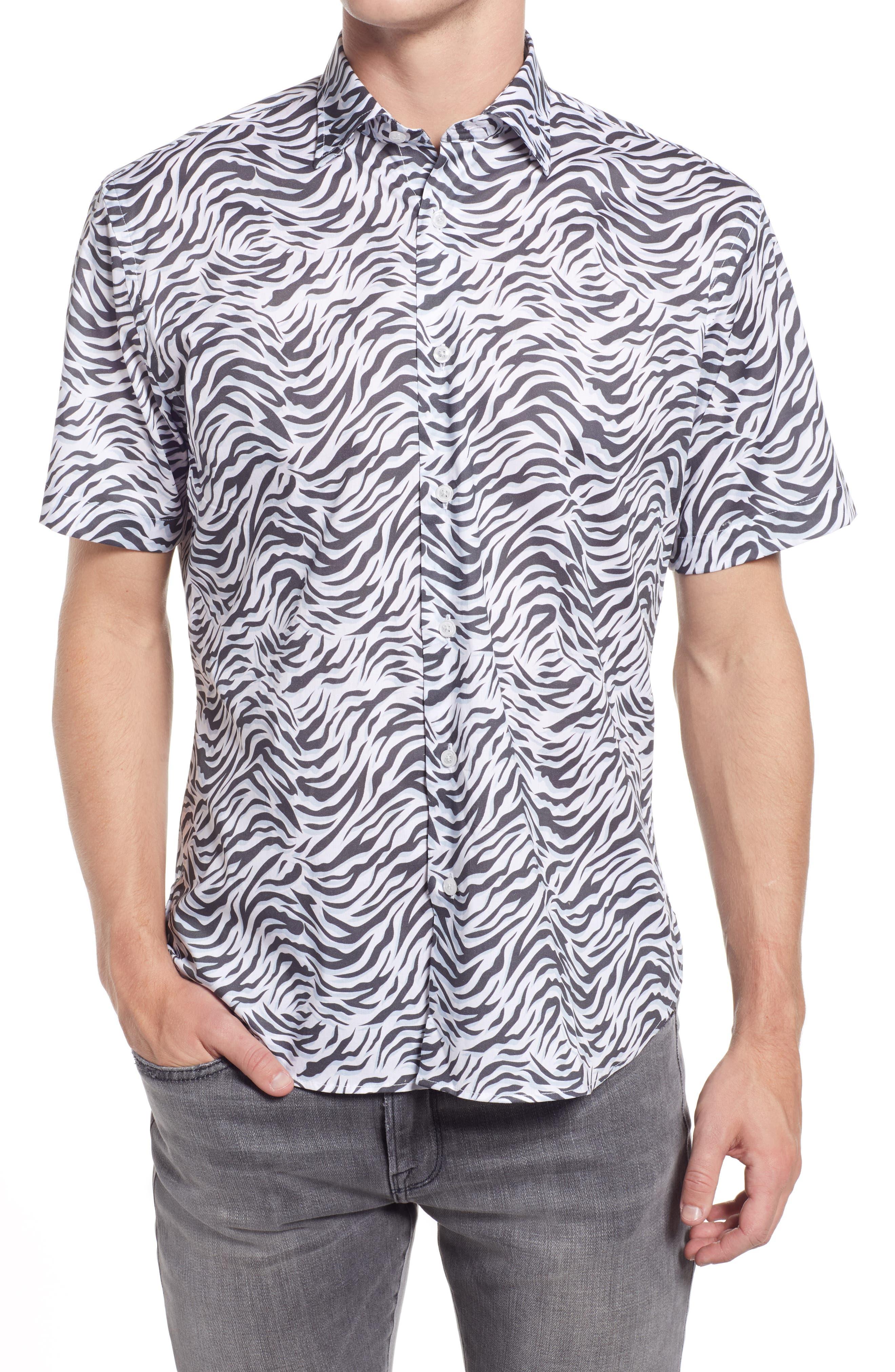 Waves Short Sleeve Stretch Button-Up Shirt