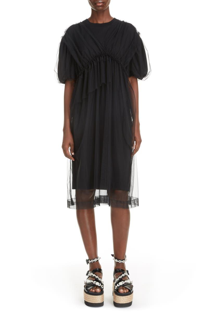 SIMONE ROCHA Tulle Layer T-Shirt Dress, Main, color, BLACK/ BLACK