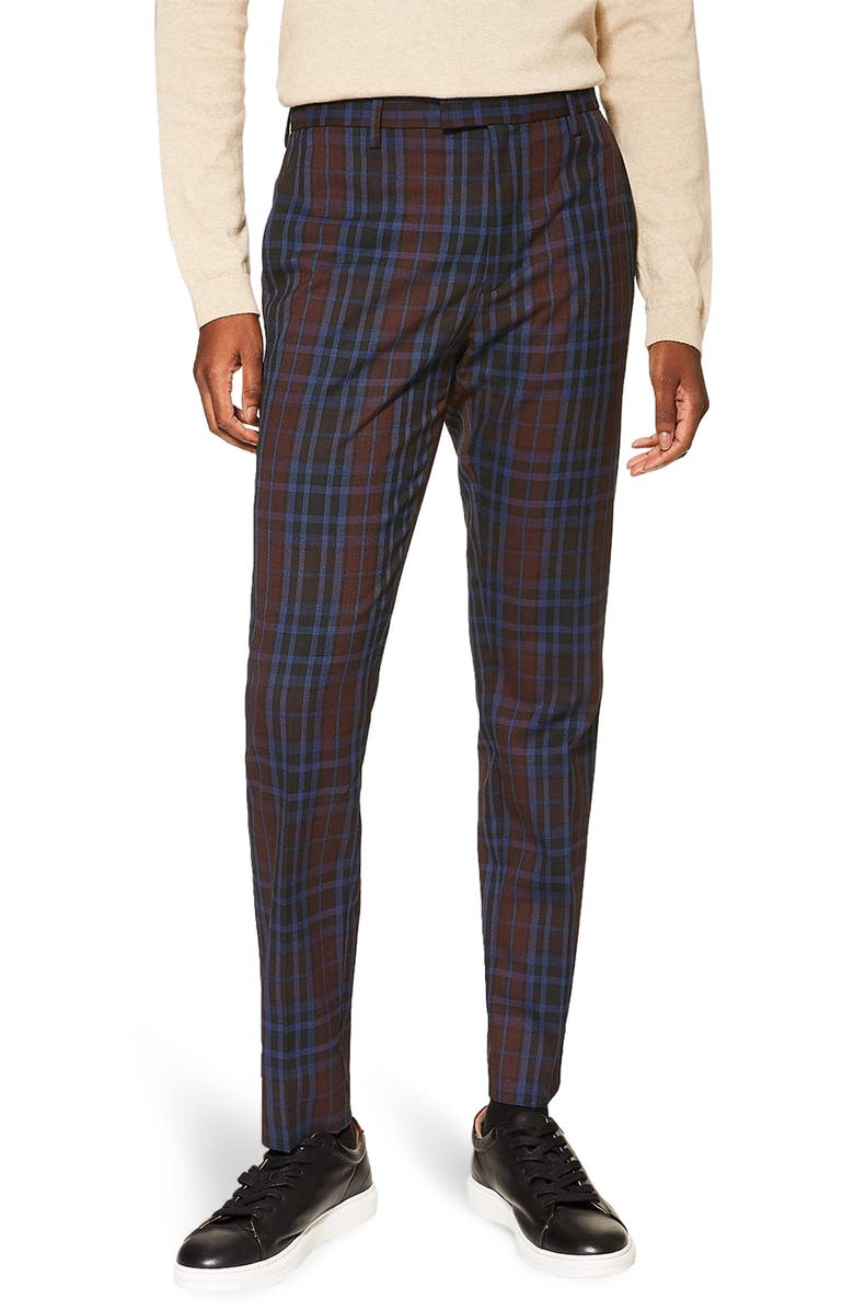 TOPMAN Check Print Skinny Fit Dress Pants, Main, color, 930