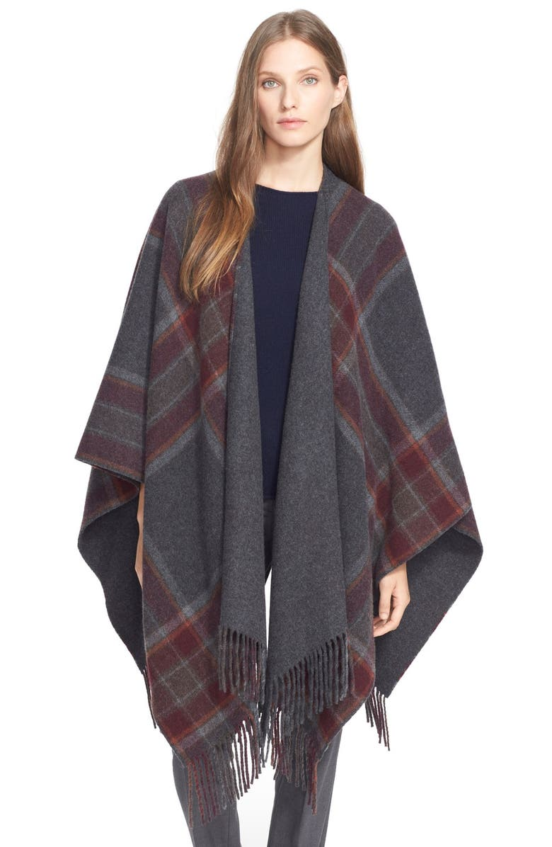 THEORY 'Saiome' Plaid Wool Blend Poncho, Main, color, 086