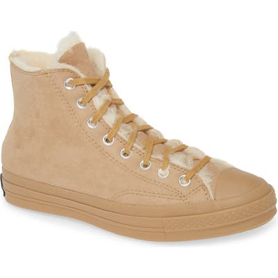 Converse Chuck 70 Genuine Shearling Lined Sneaker, Brown