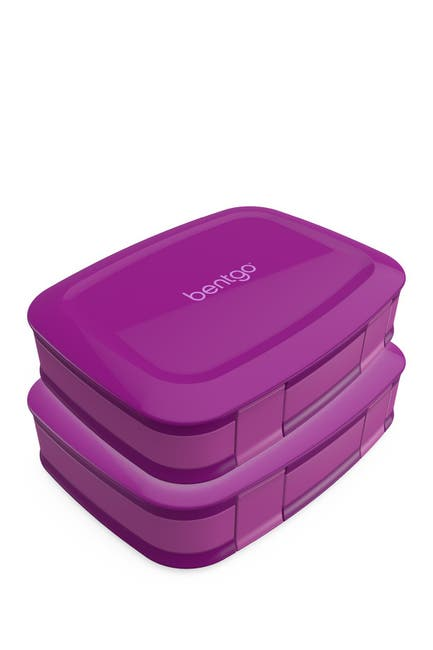 Image of BENTGO 2-Pack of Fresh Leak-Proof Versatile 4-Compartment Bento-Style Lunch Box - Purple