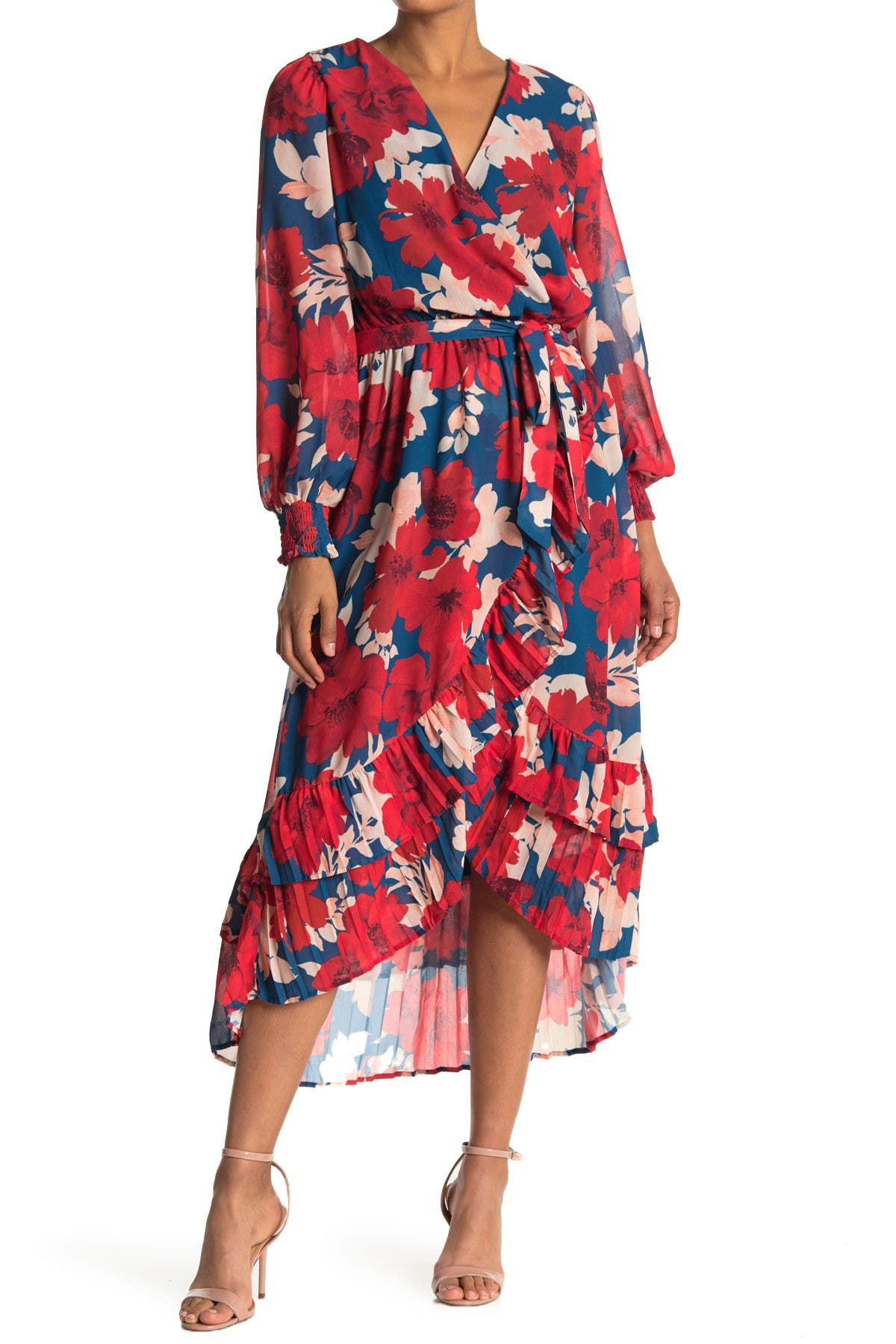 Image of A.Calin Floral Long Sleeve Midi Wrap Dress